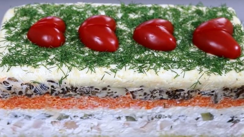 Рецепт салата с шампиньонами